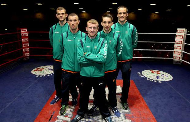 Ireland's (left to right) Adam Nolan, John Joe Nevin, Paddy Barnes, Michael Conlon and Darren O'Neill at the launch of the of the Irish Boxing team for the London 2012 Olympic Games at the National Boxing Arena in Dublin.