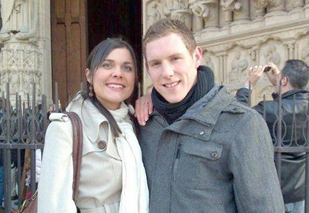 John and Michaela McAreavey outside Notre Dame Cathedral in Paris, France.