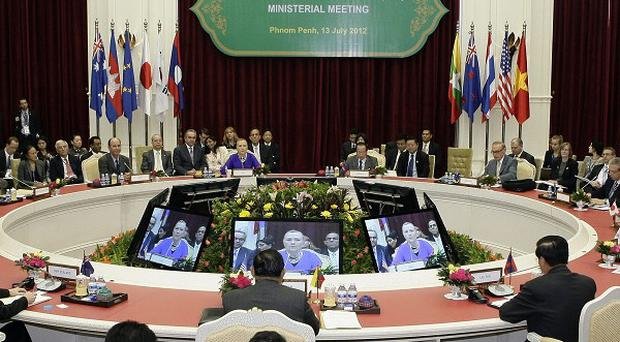 US Secretary of State Hillary Rodham Clinton gives a speech at the Asean meeting in Cambodia (AP)