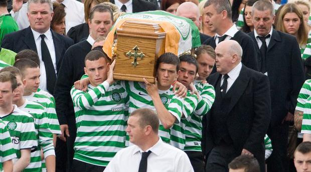 Friends of nineteen years old Conor McCafferty form a guard of honour at his funeral on Monday which was held at St. Mary's Church in Creggan in Derry.