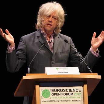 Bob Geldof speaking at the Euroscience Open Forum 2012 in Dublin
