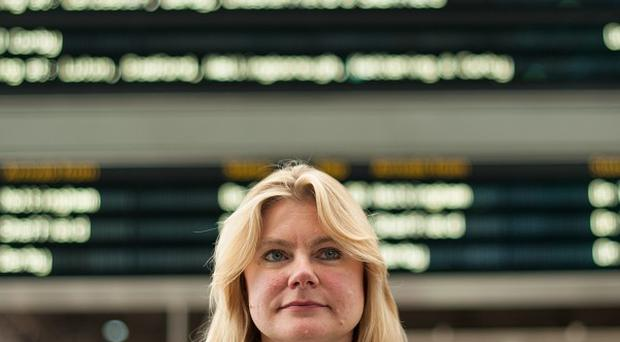 Transport Secretary Justine Greening at St Pancras railway station as a package of rail projects was announced by the Government