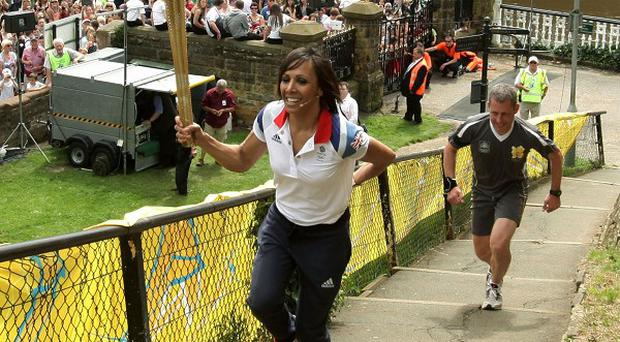 Dame Kelly Holmes with crowds at Tonbridge Castle on Day 60 of the Olympic Torch Relay