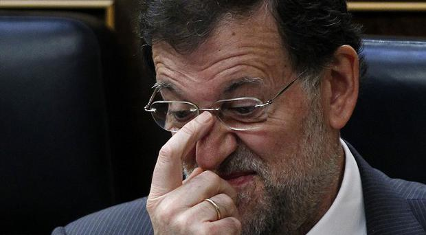 Prime minister Mariano Rajoy during an austerity debate at the Spanish parliament in Madrid (AP)