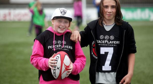 Rebecca Harris aged 11 who goes to Fortwilliam Grammar School pictured with Ryan Walker aged 12 who goes to Boys Model