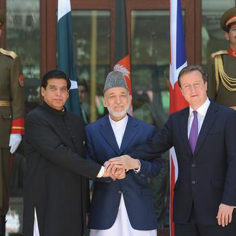 Pakistani prime minister Raja Pervez Ashraf, Afghan president Hamid Karzai and Prime Minister David Cameron are meeting in Kabul