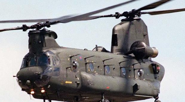 An RAF Chinook crashed near the seaside resort of Saundersfoot, Pembrokeshire, the MoD confirmed