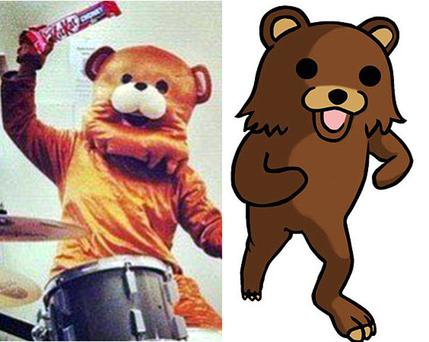 Kit Kat image of man in bear costume (left) resembling Pedobear (right)