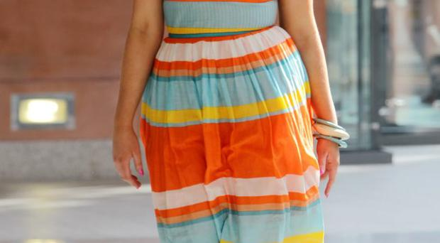 Interview outfit: Rebecca McKinney's colourful dress