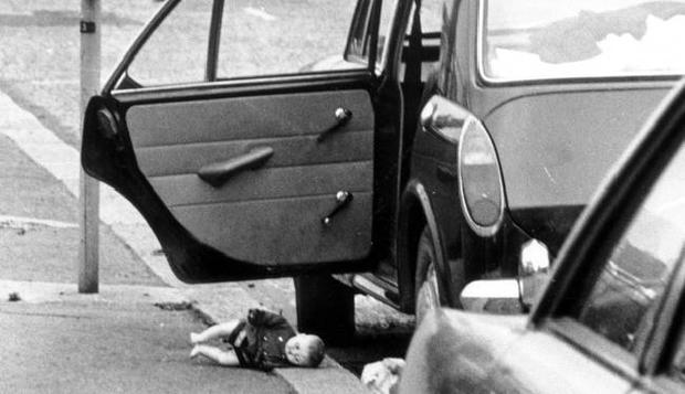EXPLOSIONS: BELFAST: BLOODY FRIDAY. 21ST JULY 1972.The IRA set off 26 explosions in Belfast, which killed 11 people and injured 130. 7 people were killed in Oxford Street bus station and 4 at a shopping centre on the Cavehill Road.