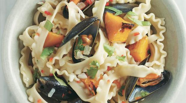 Easy butternut squash and seafood tripoline