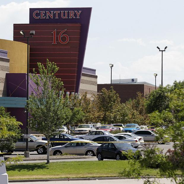 The Century 16 cinema in Aurora, Colorado where a gunman killed at least 12 people and wounded dozens of others (AP/Ted S Warren)