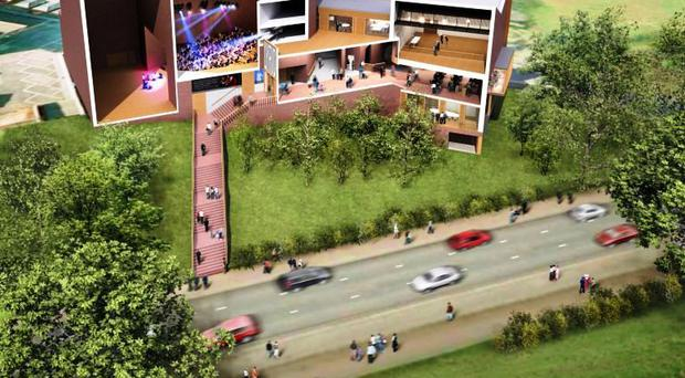 An artist's 'cutaway' impression of the new £18m Lyric Theatre complex
