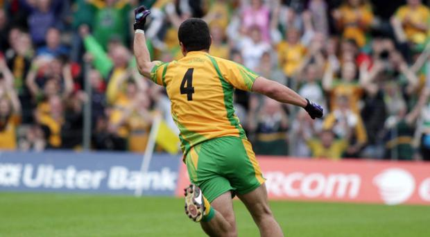 Donegal's Frank McGlynn celebrates after scoring a goal