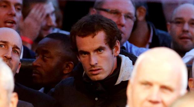 LONDON, ENGLAND - JULY 14: Andy Murray sits in the crowd before the vacant WBO and WBA International Heavyweight Championship bout between David Haye and Dereck Chisora on July 14, 2012 in London, England. (Photo by Scott Heavey/Getty Images)