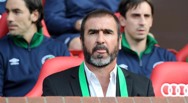New York Cosmos manager Eric Cantona during the Paul Scholes Testimonial match at Old Trafford, Manchester