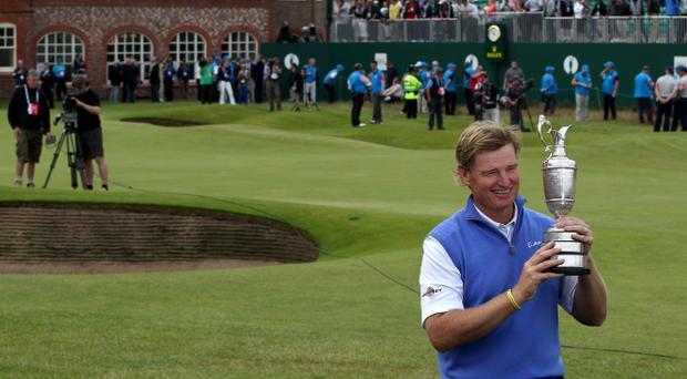 South Africa's Ernie Els celebrates with the Claret Jug after winning The Open Championship during day four of the 2012 Open Championship at Royal Lytham & St. Annes Golf Club