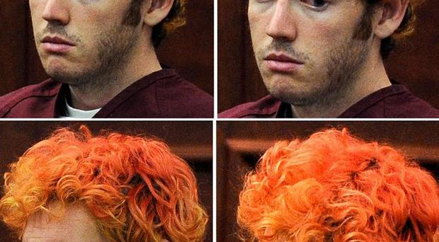 Photo combination shows a variety of facial expressions of James E. Holmes during his appearance at Arapahoe County District Court Monday, July 23, 2012, in Centennial, Colo.
