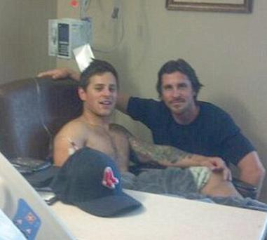 Posted on Twitter, pictures of Christian Bale visiting survivors of the Dark Knight Rises cinema massacre in Colorado