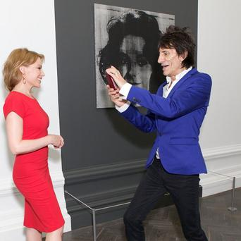 Kylie Minogue and Ronnie Wood visited a new art exhibition in London