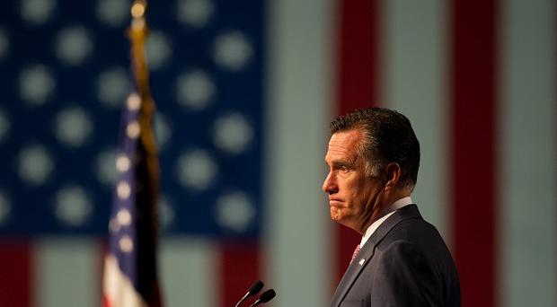 Republican presidential candidate Mitt Romney speaks to supporters in Reno, Nevada (AP/Sacramento Bee)