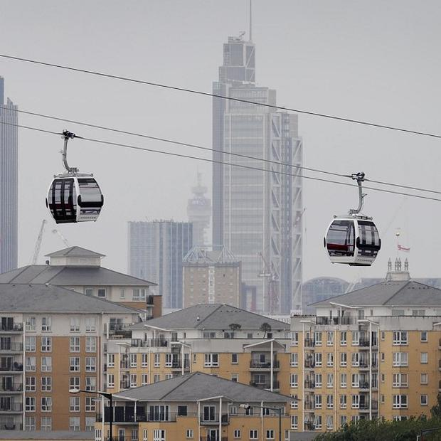 The Emirates cable car links the 02 Arena in Greenwich with the ExCel exhibition centre in London Docklands