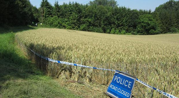The scene at the footpath near Newport, Essex, where a jogger died
