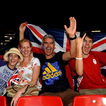 Team GB fans show their support in the stands during the first women's football match at the Millennium Stadium, Cardiff