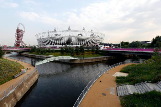 LONDON, ENGLAND - JULY 25: The Olympic Stadium is pictured in Olympic Park ahead of the London 2012 Olympic Games on July 25, 2012 in London, England. (Photo by Streeter Lecka/Getty Images)