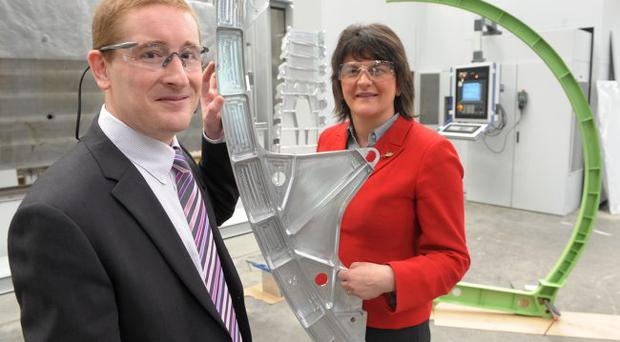 Minister Arlene Foster with Mark Semple, managing director of Moyola Precision Engineering, at their plant in Castledawson