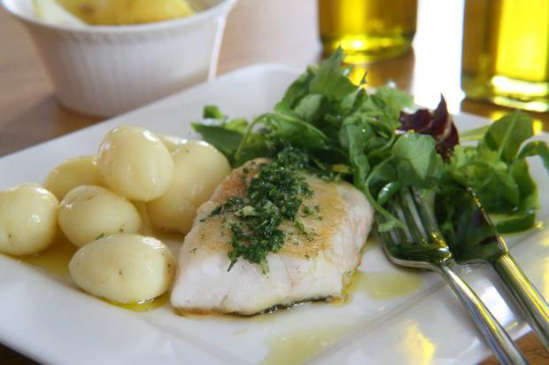 Chunky white fish with garlic, lemon and extra virgin olive oil