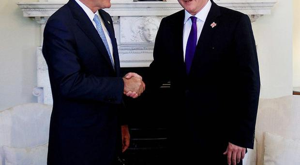 Prime Minister David Cameron meets US Republican presidential nominee Mitt Romney in Downing Street