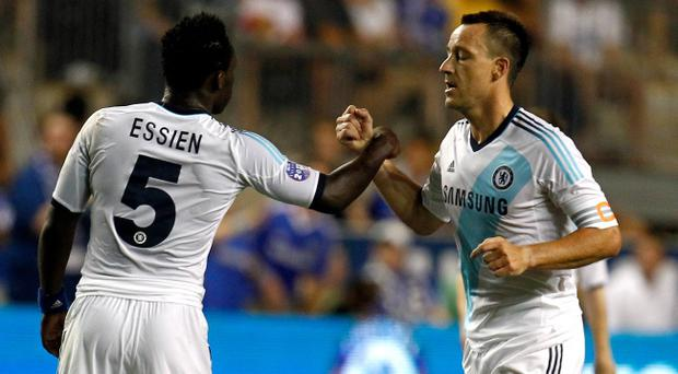 CHESTER, PA - JULY 25: John Terry #26 of Chelsea celebrates with Michael Essien #5 after scoring in the first half against the MLS All-Stars during the 2012 AT&T MLS All-Star Game at PPL Park on July 25, 2012 in Chester, Pennsylvania. (Photo by Jeff Zelevansky/Getty Images)