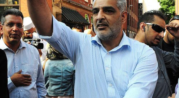 Haroon Jahan's father Tariq outside Birmingham Crown Court after a peaceful protest