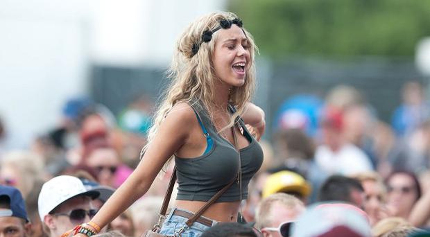 Festival-goers at the main stage of Global Gathering, where a 24-year-old has died