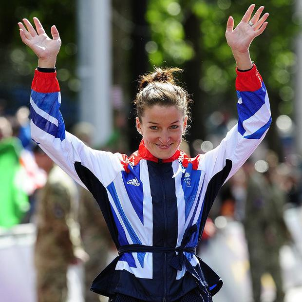 Great Britain's Lizzie Armitstead recieves her silver medal on day two of the Olympic Games in London
