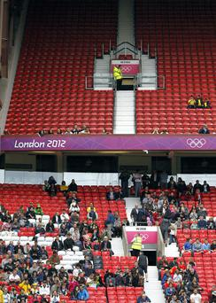Empty seats during the Egypt v New Zealand Group C match at Old Trafford, Manchester
