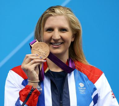 LONDON, ENGLAND - JULY 29: Bronze medallist Rebecca Adlington of Great Britain poses on the podium during the medal ceremony following the Women's 400m Freestyle final on Day 2 of the London 2012 Olympic Games at the Aquatics Centre on July 29, 2012 in London, England. (Photo by Clive Rose/Getty Images)
