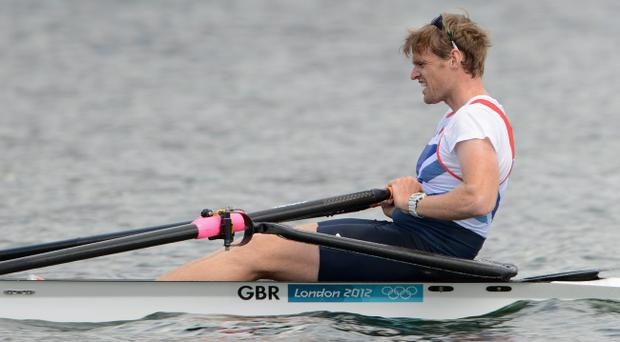 Alan Campbell of Great Britain competes in the Men's Single Sculls Heats on Day 1 of the London 2012 Olympic Games at Eton Dorney on July 28, 2012 in Windsor, England