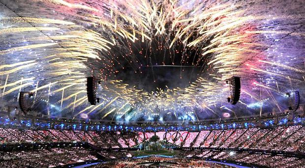 Fireworks mark the opening of the London Olympic Games