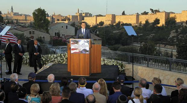 Republican presidential candidate Mitt Romney delivers a speech in Jerusalem (AP)