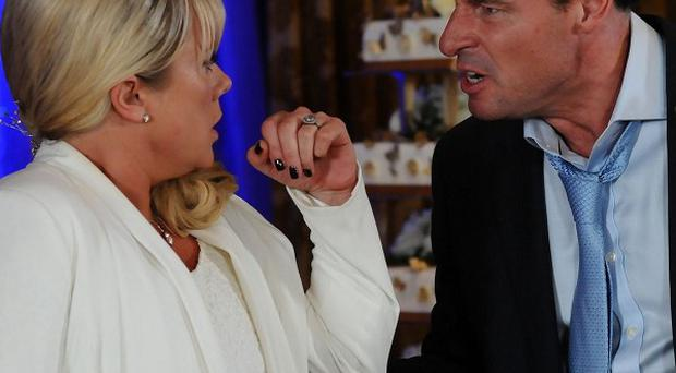 Sharon Rickman argues with jilted fiance John, played by Jesse Birdsall
