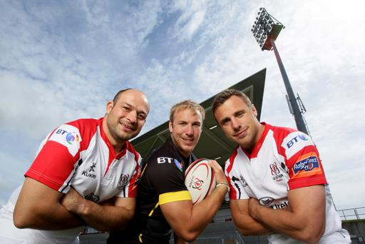 Ulster's three Lions hopefuls Rory Best, Stephen Ferris and Tommy Bowe model the team's new kits