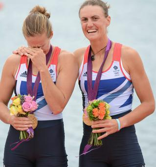 We did it - Helen Glover and Heather Stanning of Great Britain celebrate with their gold medals during the medal ceremony after the Women's Pair Final