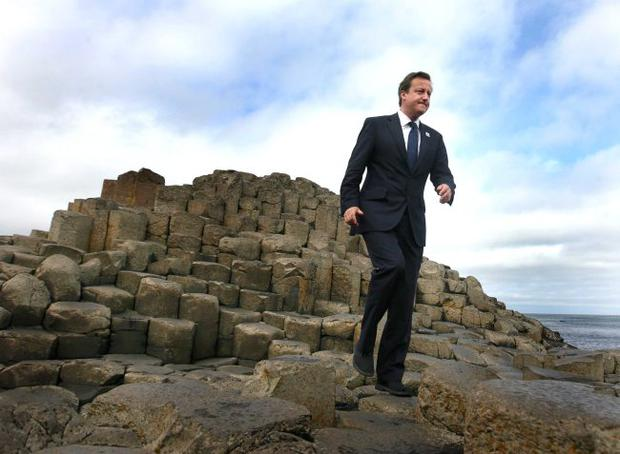 Prime Minister David Cameron pictured at the Causeway Stones