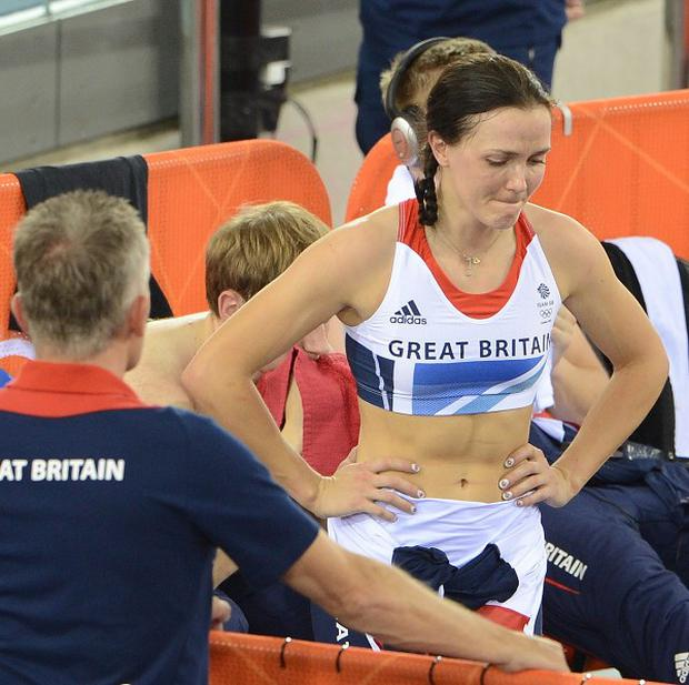 Great Britain's Victoria Pendleton after being disqualified from the team sprint finals