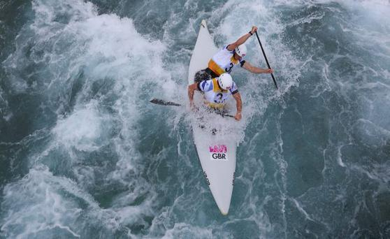 Tim Baille (front) and Etienne Stott compete during the Men's Canoe Double (C2) Slalom