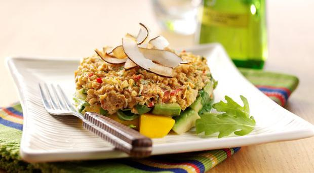 Crab, mango and avocado salad with lime and coconut dressing and toasted coconut curls