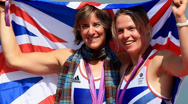 Great Britain's Katherine Grainger (left) and Anna Watkins celebrate winning gold in the women's double sculls