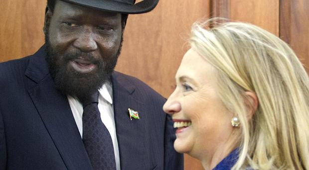 Hillary Clinton meets South Sudan President Salva Kiir (AP)